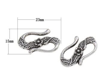 6 Pretty Antique Silver Colored  S Hooks, 23mm
