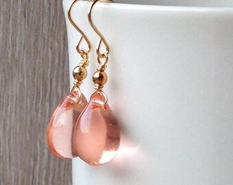 Peach dangly earrings, gold peach drop earrings, pale pink bridesmaid earrings, peach wedding jewelry, peach glass earrings, friend gift