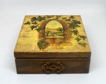 Vintage style wooden keepsake box , jewelry box , decoupage box .