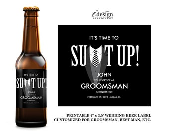 Suit Up Groomsman Beer Label | Diy Printable Tuxedo Will You Be My Best Man, Ring Bearer, Usher, Groomsmen Invitation Beer Bottle Labels