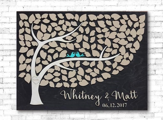 Wedding Guest Book 3D Tree of Hearts Wood Guestbook Alternative ...