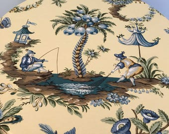 Yellow Blue And White Toile Chinoiserie 30 Inch Floor Length Tablecloth
