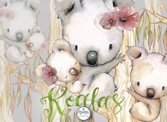 Koala Clipart Nursery Animals Watercolor Hand Painted Baby