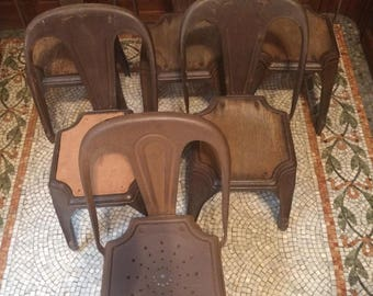 Set of Six Fibrocit industrial Chairs