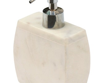 SouvNear 6.4-Inch Liquid Soap Dispenser with Aluminium Push Pump, Natural White Marble