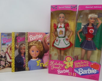 Barbie Lot of 2 dolls and 3 books-Christmas Barbie and Back to School Barbie 1997