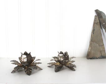 vtg pair of metallic lotus candlestick holders // metal blossom candle holders // silver flower votive