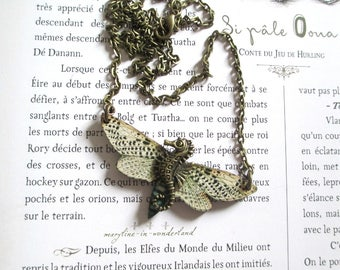 beige Butterfly bronze seahorse necklace