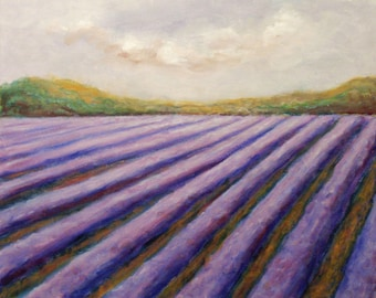 Lavender Field Landscape Painting,  Acrylic on Canvas, Painting on Canvas, Wall Decor, Modern Landscape