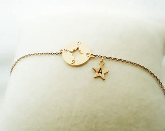 521. Gold color, Cute Compass with initial Bracelet, Compass pendant and Star initial Charm, gift for friends, tiny Compass Bracelet