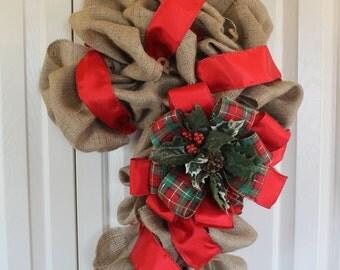 Burlap candy cane wreath.  Rustic Christmas Decor.  Burlap Christmas door hanging.  Double door Holiday decor.  Candy Cane Wreath.
