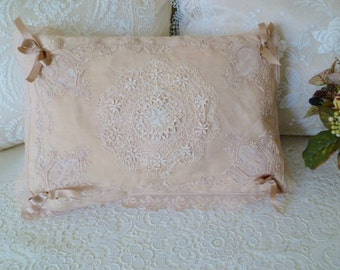 Vintage linen and lace over charmeuse boudoir pillow.  A lovely neutral accent for your French vanity