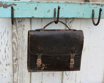 Vintage Black Leather Satchel Bag