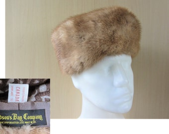 Vintage HUDSON'S BAY Company Mink Fur Pillbox Hat HBC Department Store Union Made in Canada Light Sable Brown Color Fully Lined