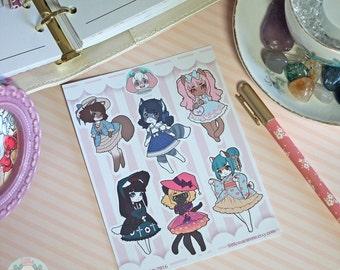 "Sticker Sheet ""Lolita Kitties"" original chibi anime furry kawaii art"
