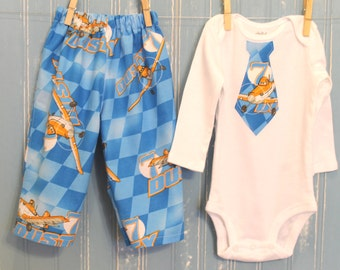 Baby Boy's Clothing Set,3 to 24Months,Handmade,All Season,Cotton Pants,Air Plane Theme,Long Sleeve White Onesie matching Tie