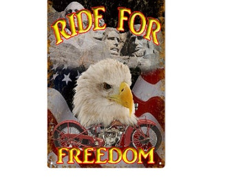 """Freedom Motorcycle Sign  12""""x18"""""""