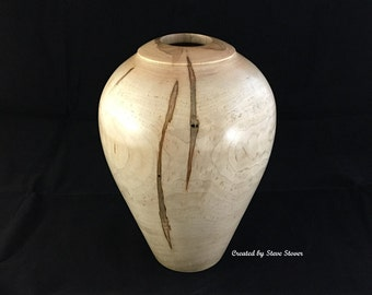 Woodturned Hollow Form - Large Ambrosia Maple Hollow Form Vessel - Hollow Form Vase - Woodturned Art