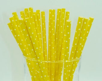 Pack of 25 yellow  white dots paper straws wedding party celebration birthday baby shower planner supplies