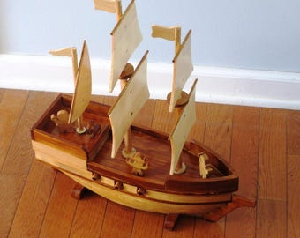 Wood Pirate Ship Toy Model