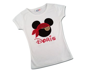 Girl's Glitter Mouse Pirate Shirt with Embroidered Name