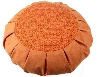 Meditation cushion, floor pillow with organic buckwheat fill. Saffron Geometric print: 18183
