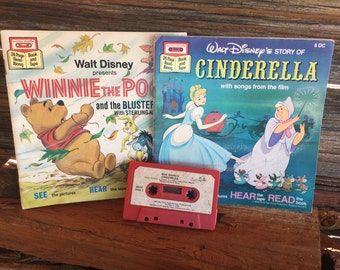 Vintage, Winnie the Pooh, and Cinderella, books with cassette, Children's books, Bedtime Stories, Tape and Book, Movie's, Music, and Books