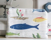Handmade CosmeticMakeup Purse  Pouch  Zippered  Cath Kidston  River Fish  Gift