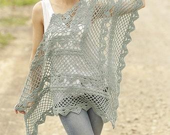 Cotton and merino shawl, Summer shawl, spring shawl, crochet shawl, 100% hand made, summer wrap, crochet wrap.
