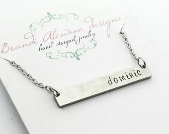 Personalized rectangle necklace with stainless steel chain,  personalized bar necklace, bar name necklace,  personalized jewelry