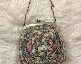 Vintage tapestry purse gold tone couple pose beautiful