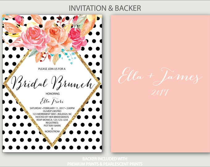 Black Polka Dot Bridal Shower Invitation // Brunch with the Bride // black and white // blush pink // gold // bubbly // RALEIGH COLLECTION