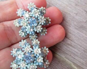 Vintage Signed Leru Light Blue Flower Rhinestone Thermoset Button  Clip On Earrings