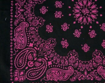 "Bandana - Black and Hot Pink Cotton 22"" Square Cowboy Style Paisley Bandana"