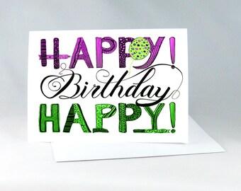 Hand Drawn Birthday Card, Birthday Card for Friend, Pink Birthday Card, Handdrawn Birthday Card, Happy Birthday Note, Handdrawn Card 1133A