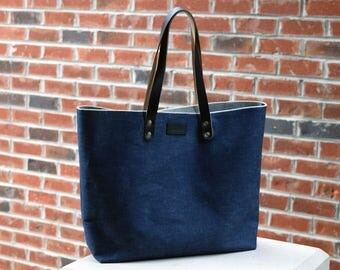 Selvage Denim Carryall | Navy Horween Chromexcel Leather | Cone Mills Denim