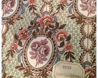 Stunning antique French cameo roses floral garlands original unused labelled textile fabric