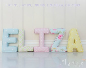 Lilymae Designs Fabric Letters Handmade - Nursery - Bedroom - Childrens - Gift - Made in England - Price Is Per Letter