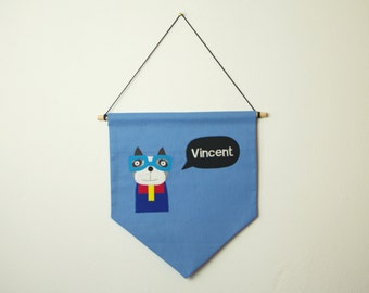 """Pennant """"Dog with glasses and your name"""""""
