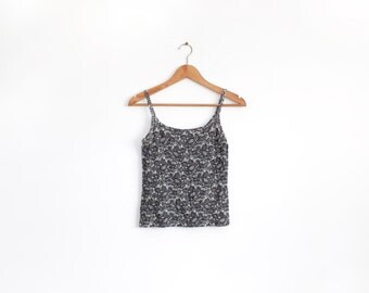 Vintage floral lace super stretch fitted singlet top