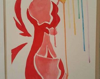 The red king original watercolor