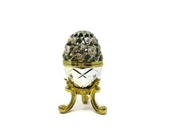 Egg Shaped Music Box with Revolving Shoe / Cinderella Musical Faberge Style Egg / Silver, Gold with Carved Flowers Crystals