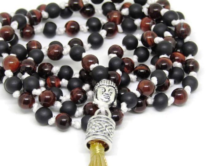 Red Tiger Eye and Frosted Black Mala Necklace | Emotional Balance Mala | Depression Mala | 108 Bead Mala Necklace, Gemstone Mala Necklace