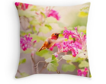 Hummingbird Pillow, Bird Cushion, Hummingbird Decor, Hummingbird Cushion, Bird Throw Pillow, Colorful Pillow, Humming Birds, Hummer