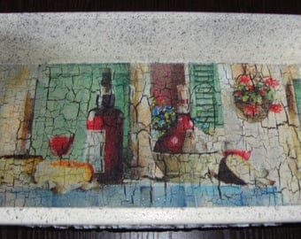"Handmade decorative tray ""Bon Appetit!"" in decoupage technique."