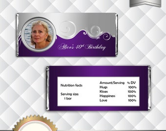 Elegant Purple and Silver Candy Bar Wrapper With Photo, Party Drcoration, Birthday, Anniversary, Bridal Shower - Printable, Digital File
