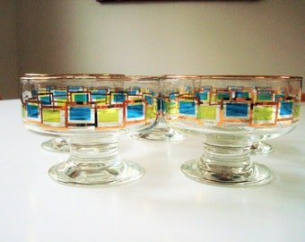 Set of 5 vintage libby rocks footed dessert glasses - gold, blue and green mid century modern flair