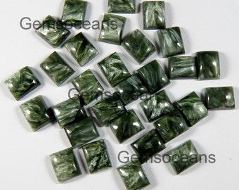 25 Pieces Wholesale Lot Natural Seraphinite Octagon Shape Gemstone Cabochon