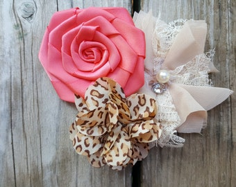Hair Accessory, Girls Accessory, Girls Hairclip, Photo Prop, Spring Flower, Flower Girl, Pink Flowers,Tan/Cheetah Print, Wedding Flowers