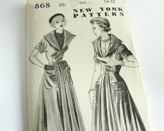 Vintage sewing pattern from New Your Patterns nº 868, blouse and dress pattern size 14, bust 32 by Louise Scott